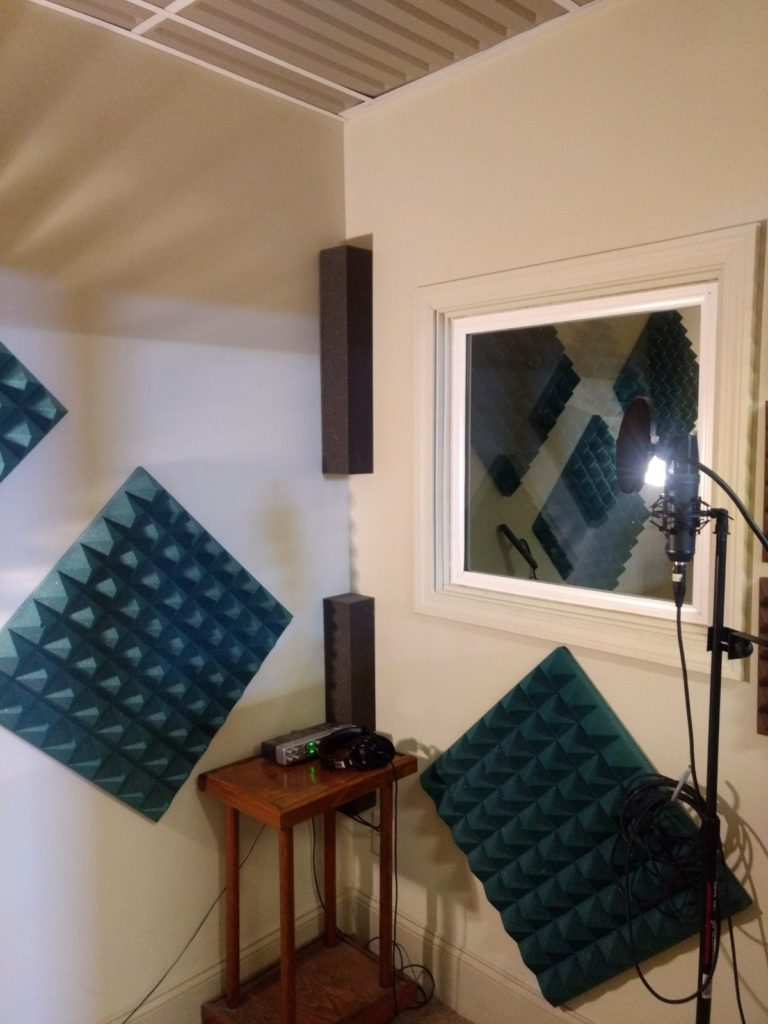 Our vocal booths are treated for sound isolation and reflections and sound great!